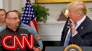 Trump's awkward moment with a steel worker