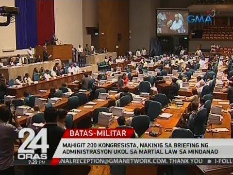 24 Oras: Mga kongresista,  nakinig sa briefing ng administrasyon ukol sa Martial Law sa Mindanao