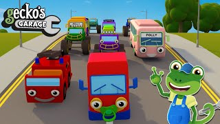 Counting Vehicles With Trucks   Geckos Garage   Educational Videos For Kids   Baby Truck Videos