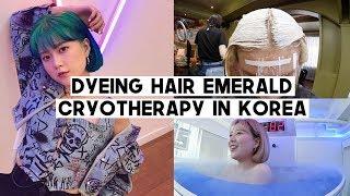 DTV.05: Dyeing Hair Emerald Blue/Green, Burning +500 cal by Cryotherapy, Tiramisu Cafe | Q2HAN