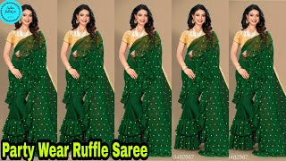 Party Wear Ruffle Saree With Blouse Buy Online | Latest Designer Saree Collection For Girls|