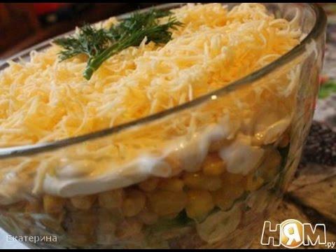 Салат с колбасой, морковью и кукурузой  Пошаговый рецепт с фото