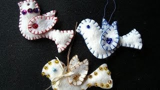 FELT BEADED BIRDS, CHRISTMAS ORNAMENTS, Free Download Pattern, Sewing For Beginners.