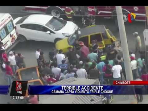 Chimbote: cámaras captan aparatoso triple choque