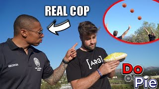 CHALLENGING REAL POLICE OFFICER IN BASKETBALL (loser gets pie to the face)