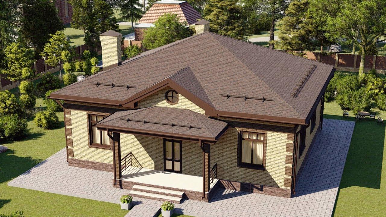 Одноэтажный дом из газобетона 123 кв м