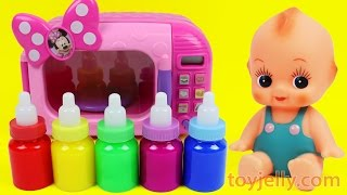 Learn Colors Bubble Gum Microwave Toy Baby Doll Slime Milk Bottle Feeding Training for Children