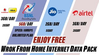 Enjoy Free Unlimited 4G Internet for Work from Home | Best Data Plan by BSNL, Jio, Airtel, Vodafone