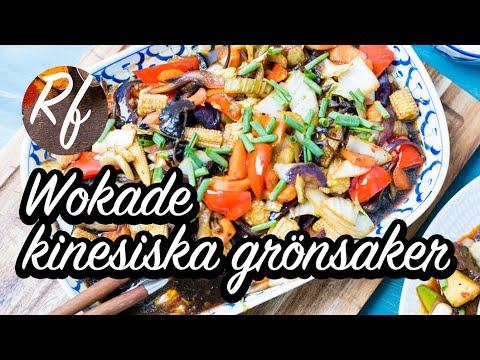 Ett grundrecept som kan varieras efter smak. Fyllig smak av ljus och mörk kinesisk soja, sesamolja, vitlök, ingefära och chili. Här med bok choi (pak choi), champinjoner, paprika, svamp, salladskål, morötter och rödlök. Servera med ris som ex. klibbigt ja>