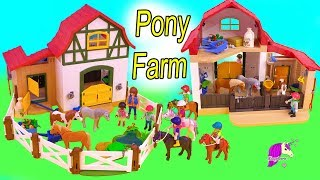 Pony Farm ! Playmobil Horse Barn Toy Video - Honey Hearts C