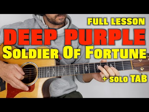 Deep Purple Soldier Of Fortune Lesson and Solo with TAB