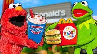 Kermit the Frog and Elmo's Drive Thru Shenanigans! (McDonalds & Dairy Queen)