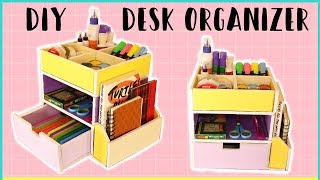 How To Make CARDBOARD DESK ORGANIZER - With Templates | DIY Storage Organizer