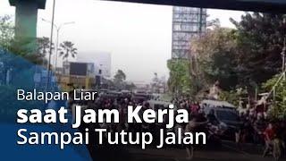 Sejumlah Remaja Balapan Liar di Jalan Raya Serpong saat Jam Kerja hingga Tutup Paksa Jalan