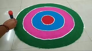 आसान तरीके से रंगोली बनाना सीखे (simple and beautiful rangoli