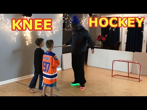 Kids HocKey - Dusty Face Reveal Max and Carter Battle Dusty in Knee Hockey and Rip his Mask Off!!