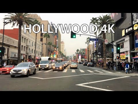 Driving Downtown - Hollywood 4K - USA