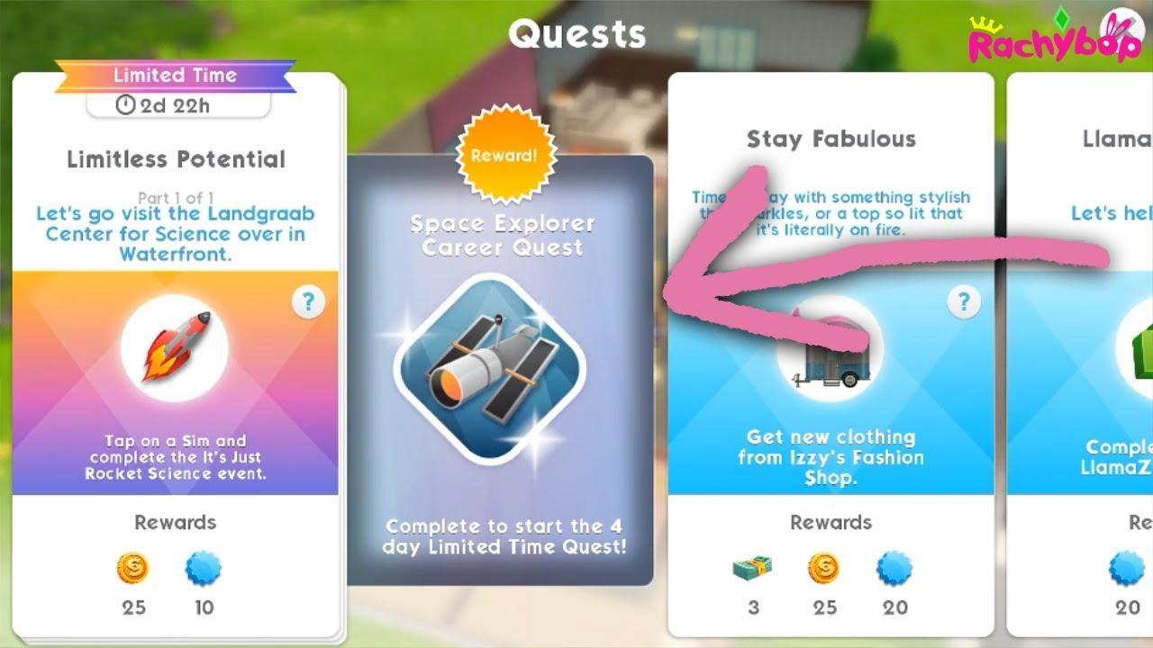 The Sims Mobile space explorer quest walkthrough