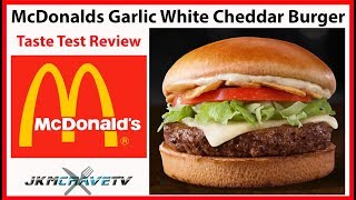 McDonald's NEW Garlic White Cheddar Burger Taste Test Review | JKMCraveTV - Video Youtube