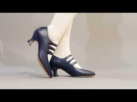 PRE-ORDER Bellatrix Edwardian Shoes (Navy)(1900-1925)