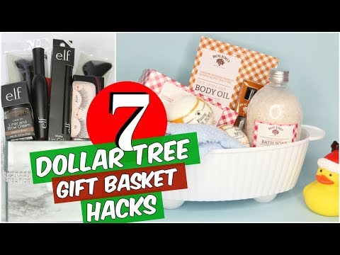 7 DOLLAR TREE CHRISTMAS GIFT BASKET DIY HACKS