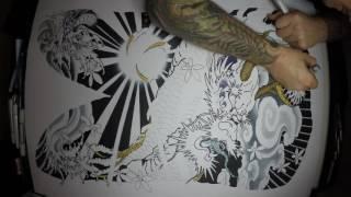 Japanese Dragon Tattoo Time Lapse Drawing