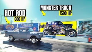 """Seeing a Monster Jam truck in real life is pretty unreal - something like a childhood dream for a whole lot of gearheads. Seeing it on a drag strip in real life is an even MORE rare opportunity. But seeing it drag race your own friend at your local dragway?? That's next level. With over 2000 horsepower between the two of them, Monster Jam pro (and official Hoonigan) Ryan Anderson drag races Son-uva Digger against our very own Jon Chase in this wild monster truck vs '55 """"Tri Five by Fire"""" hot rod showdown. And it's a whole lot closer than you'd ever think.   To see Monster Jam LIVE, visit : https://www.monsterjam.com/en-US  We've got channels for all your car content needs. Subscribe, nerds!    The Hoonigans: https://www.youtube.com/user/TheHoonigans?sub_confirmation=1  Project Cars: https://www.youtube.com/channel/UCCQAt0ipBbsOOIFpIDu9z2Q?sub_confirmation=1  Daily Transmission: https://www.youtube.com/channel/UCXlfi8sf6cKGQ8sOd0-yRuw?sub_confirmation=1  Ken Block: https://www.youtube.com/KenBlockHHIC ?sub_confirmation=1  AutoFocus: https://www.youtube.com/channel/UCuGuOqcXsgzL3YrguODoGXw?sub_confirmation=1  Bonus: https://www.youtube.com/channel/UCFhUumuHyYL-mAXSeZVbqMg?sub_confirmation=1  Stay fresh with the latest apparel:  https://www.hoonigan.com/featured.html   Facebook: https://www.facebook.com/TheHoonigans/  Instagram: instagram.com/thehoonigans  Follow Our Crew: @brianscotto @hertlife @vin_tra @dangerdan3 @mister_zachary @jchase7452 @nadsynads @larry_chen_foto @suppymk4 @roncar  And don't forget to turn on notifications so you don't miss out on our latest uploads!   LINKS: https://www.youtube.com/watch?v=Q6UQaNXbCl4 https://www.youtube.com/watch?v=rqyTMZVA3B8&list=PLO24Lhxsw1aBAQROJgNIFMj1D0765T3jT https://www.youtube.com/watch?v=bcZfgU4HHT0 https://www.youtube.com/watch?v=rrc5oOVCs_k&list=PL2JAt2cYDXeYSbDccLYDwp4rqzCUiSvmA&index=1 https://www.youtube.com/watch?v=37-paiEz0mQ https://www.youtube.com/watch?v=rowysW-3rOk https://www.youtube.com/watch?v=FK-SwUUP"""