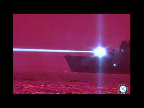 USS Portland Downs Drone With Laser