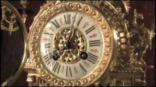 Stunning Louis XVI Style Gilt Brass Clock Set