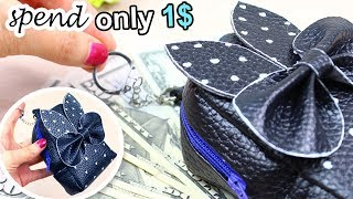 DIY ZIPPER COINS POUCH | Keychain PU Lather Mini Bag Idea 2018 | OLD BAG TRANSFORM