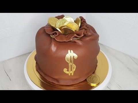 Как приготовить торт в виде денежного мешочка