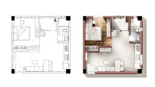 Architecture plan render by photoshop