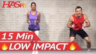 15 Min Low Impact Aerobics - Quiet Cardio Workout for Beginners with No Jumping - Easy Exercises by HASfit