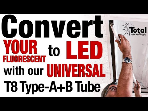 Universal LED Tube Converts your Fluorescent Fixture to LED in Minutes, WORKS with no Ballast too!