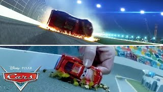 Lightning McQueen's Crash Scene | SIDE BY SIDE Toy Play | Pixar Cars