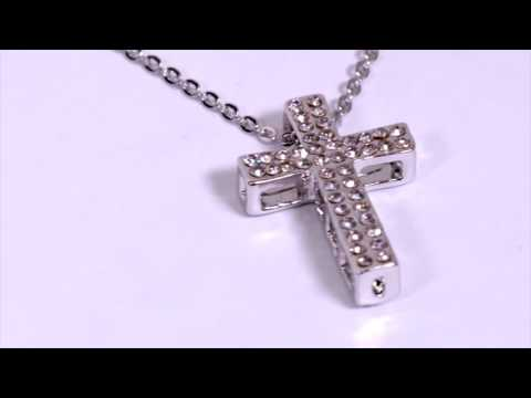 Silver Chunky Cross Pendant With Clear Stones