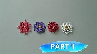 Beginner needle tatting. Flower DIY / Фриволите иглой для начинающих. Объемный цветок