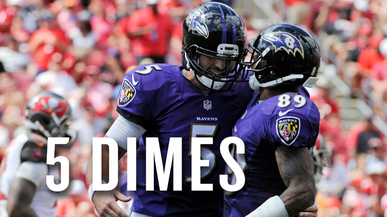 Watch all of Joe Flacco's ridiculous five first half TD passes vs. the Bucs thumbnail