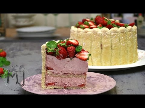 CARLOTA DE FRESAS (TARTA CHARLOTTE)   Ideal para fiestas y cumpleaños