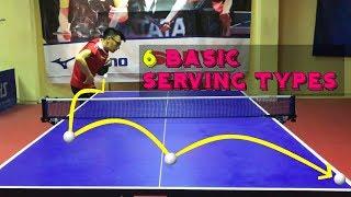 6 Basic Serving Types ! ( Table Tennis )