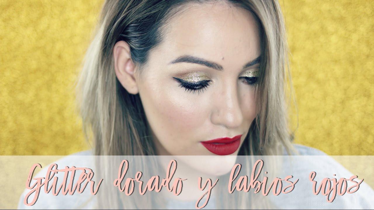 Maquillaje Año Nuevo con Glitter y labios rojos MUY FÁCIL