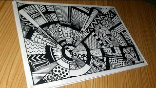 Step By Step Drawing Zentangle Rock Doodle Vignette #028