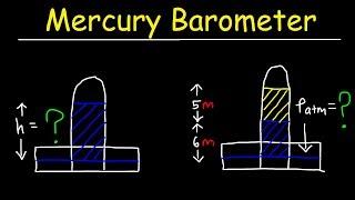 Mercury Barometer Problems, Physics - Air Pressure, Height & Density Calculations - Fluid Statics