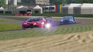 Battle Bugatti Chiron vs Bugatti GT Vision at Vallelunga