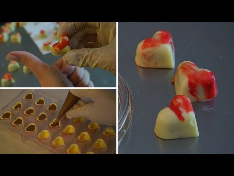 Einfach Herz Pralinen mit Vanillefüllung - Pralinen zum Valentinstag - DIY Praline - Kuchenfee