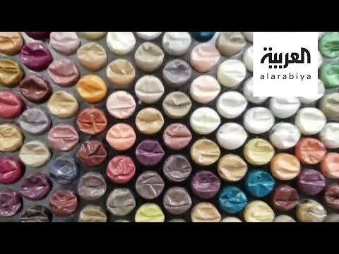 العرب اليوم - شاهد: لوح فنية فريدة من نوعها بأكياس فقاعات الهواء
