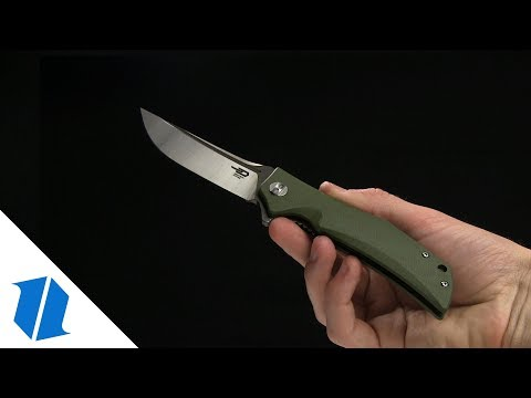 "Bestech Knives Scimitar Liner Lock Knife OD Green G-10 (3.75"" Satin, Gray)"