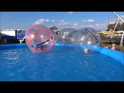 Aquazorbing - Kinder in schwimmenden Riesenbällen auf Wasser