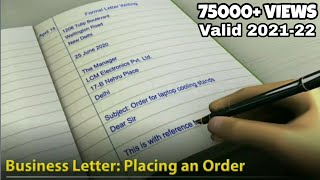 Formal Business Letter - Placing An Order - Comprehensive English Grammar - Writing Skills
