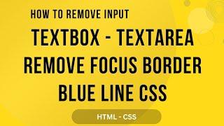 remove blue border on focus input textbox textarea html css